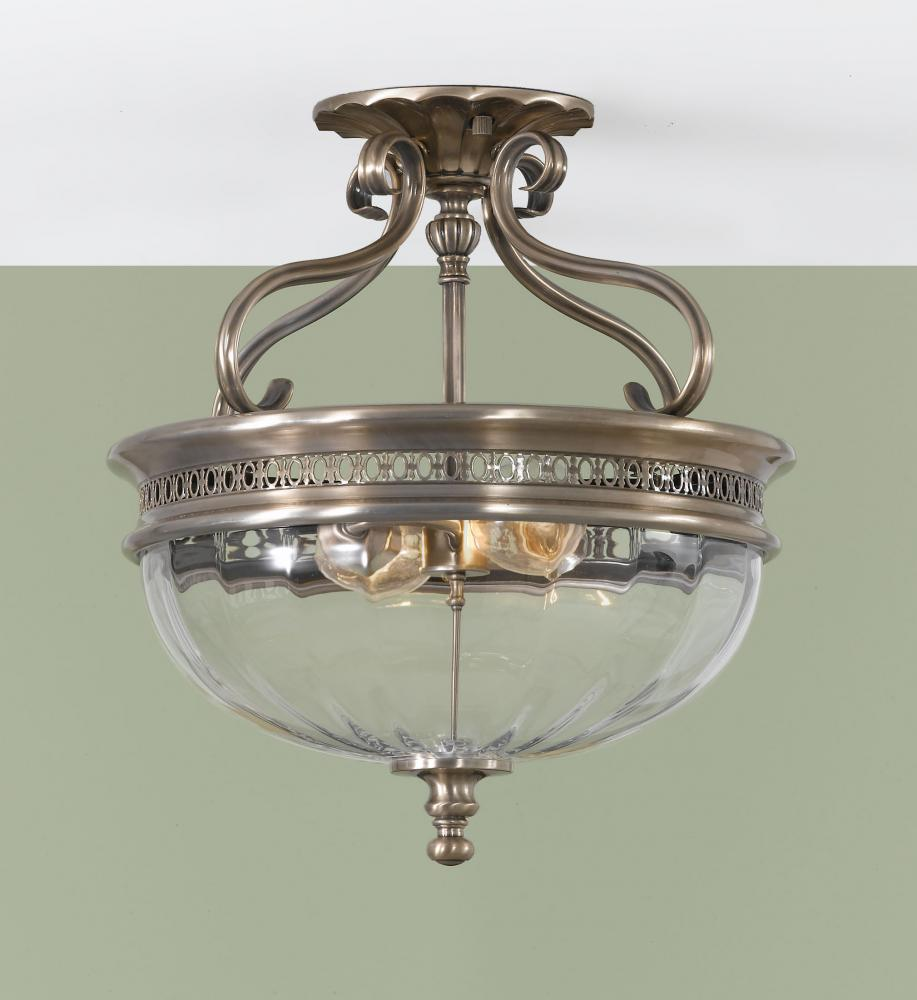 Two Light Brushed Bronze Clear Optic Glass Bowl Semi Flush Mount Sf257bv Good Friend Electric