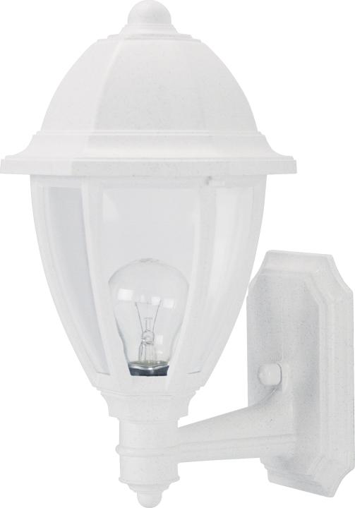 Everstone wall lantern white w clear lens s21s c wh good friend electric